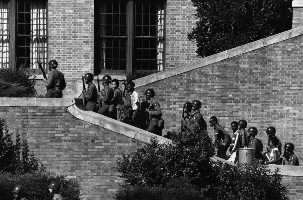 101st Airborne Soldiers Escorting Students at Little Rock Central High School, 1957