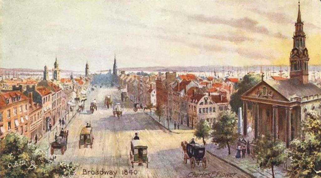 Broadway, New York, 1840