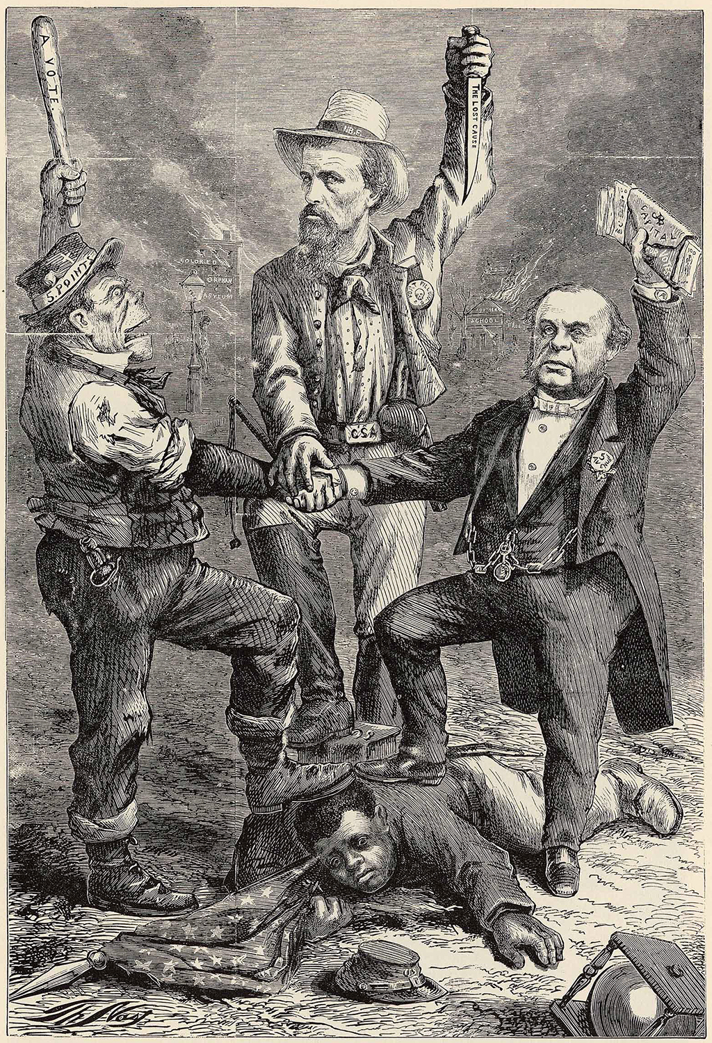 Thomas Nast Cartoon, The Camilla Massacre, 1868