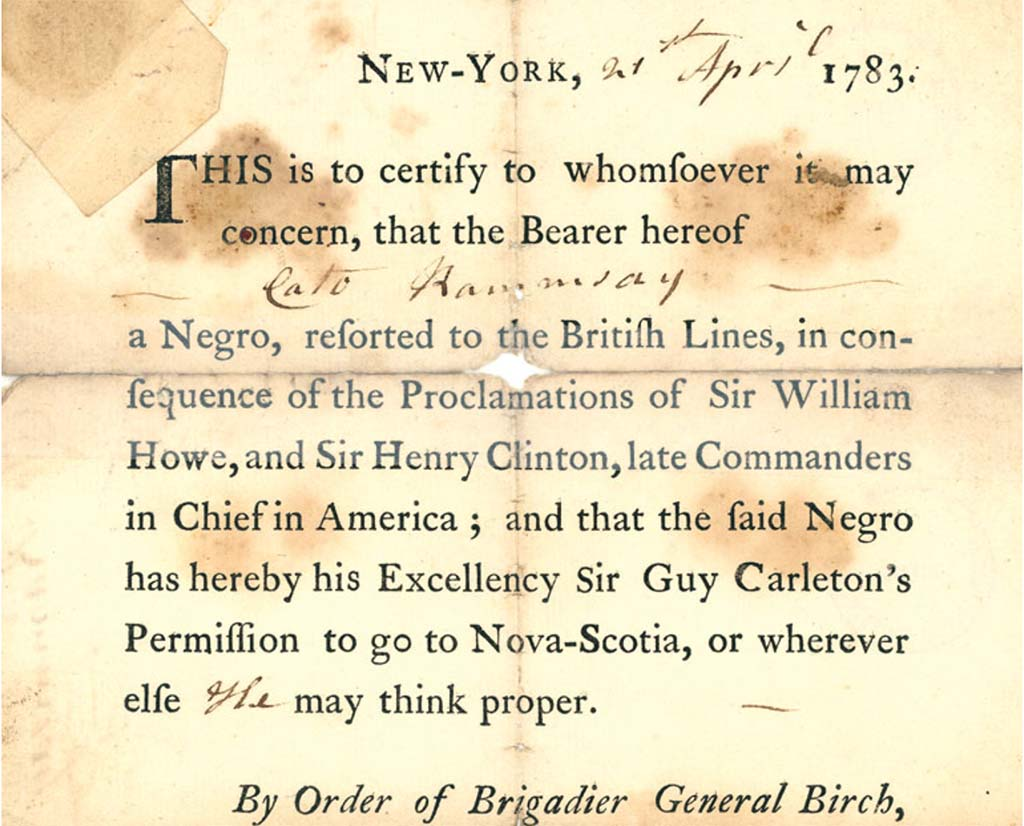 Certificate of Freedom for Samuel Birch, Book of Negroes, 1783