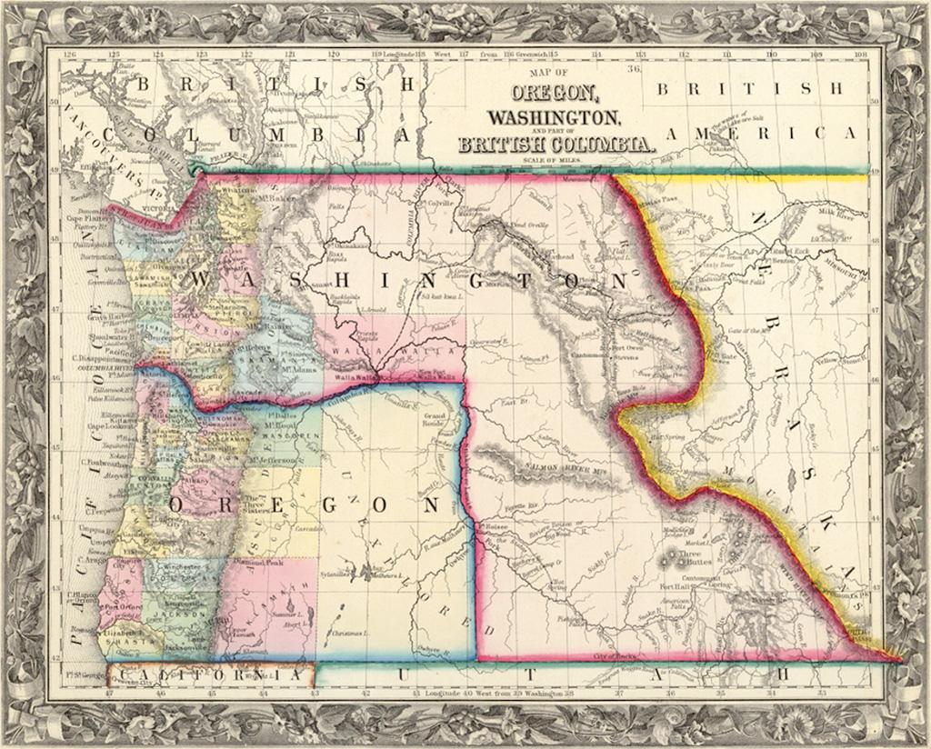 Map of Oregon, Washington and Part of British Columbia, 1860