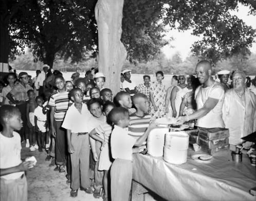Children Lined Up For Food at Chickasaw Park, Louisville, KY 1951