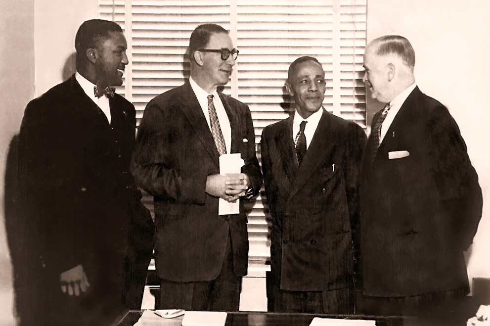 Civil Rights Attorney Julius Winfield Robertson, U.S. Senator Carey Estes Kefauver, Civil Rights Attorney James M. Nabrit, Jr., Unknown U.S. Official (left to right), Circa 1960