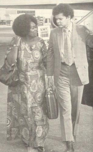 Ruby Duncan Greets Julian Bond as He Arrives in Las Vegas in 1973