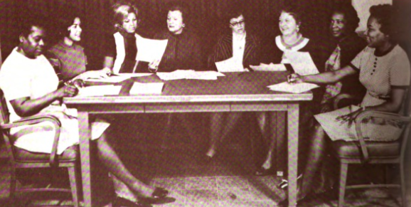 Eunice Gray Smith (seated far right) meets with Langley Research Center Women's Advisory Group, 1973