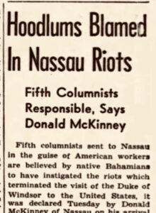 Newspaper Headline on the Conspirace of the Fifth Columnist, 1942