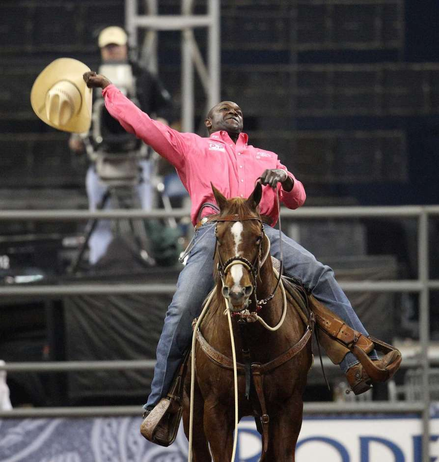 Fred Whitfield after winning RodeoHouston's tie-down roping championship shootout