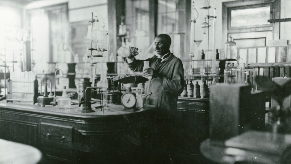 George Washington Carver in his Lab at Tuskegee