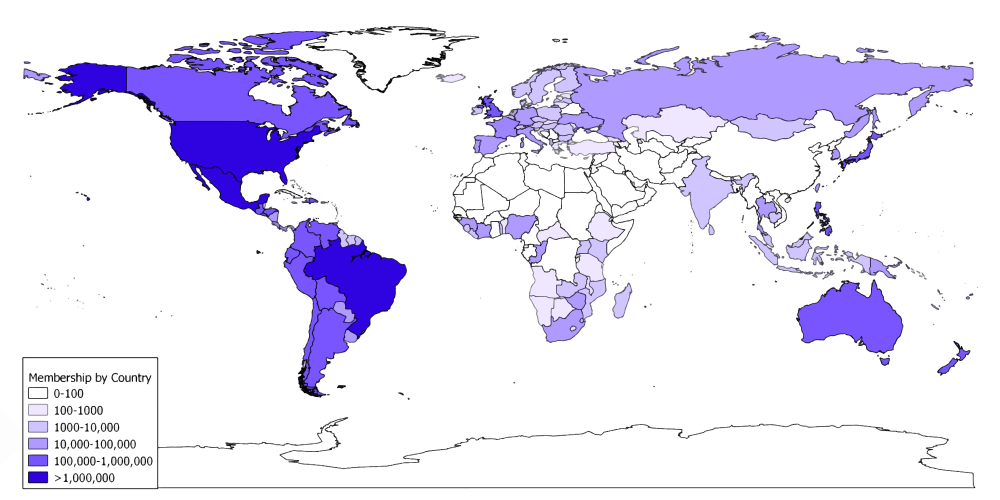 Global Distribution of LDS Church Members in 2009