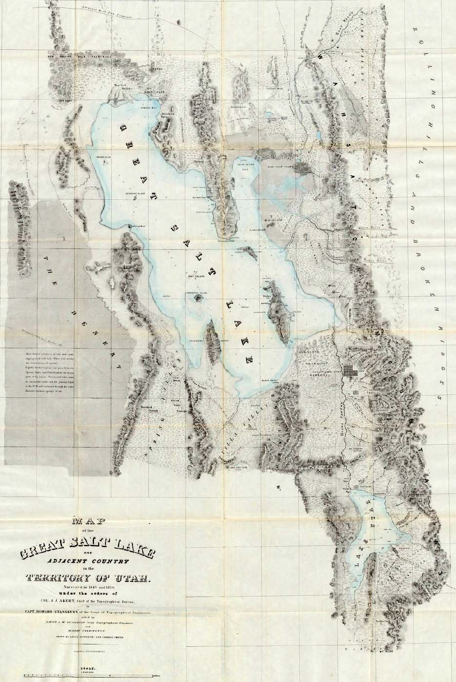 Map of The Great Salt Lake and Early Utah Settlements, 1852