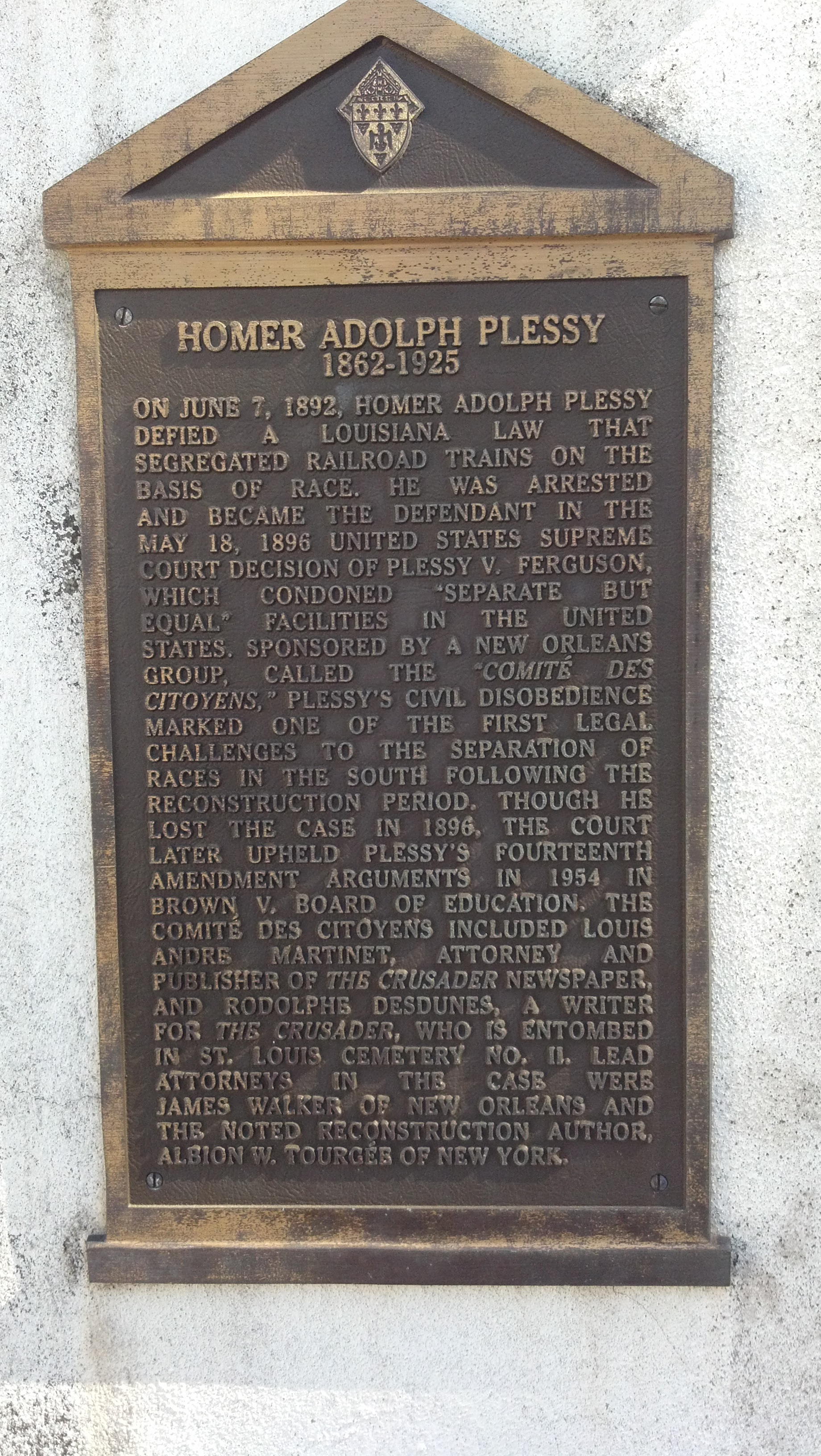 Homer Plessy tomb plaque, New Orleans