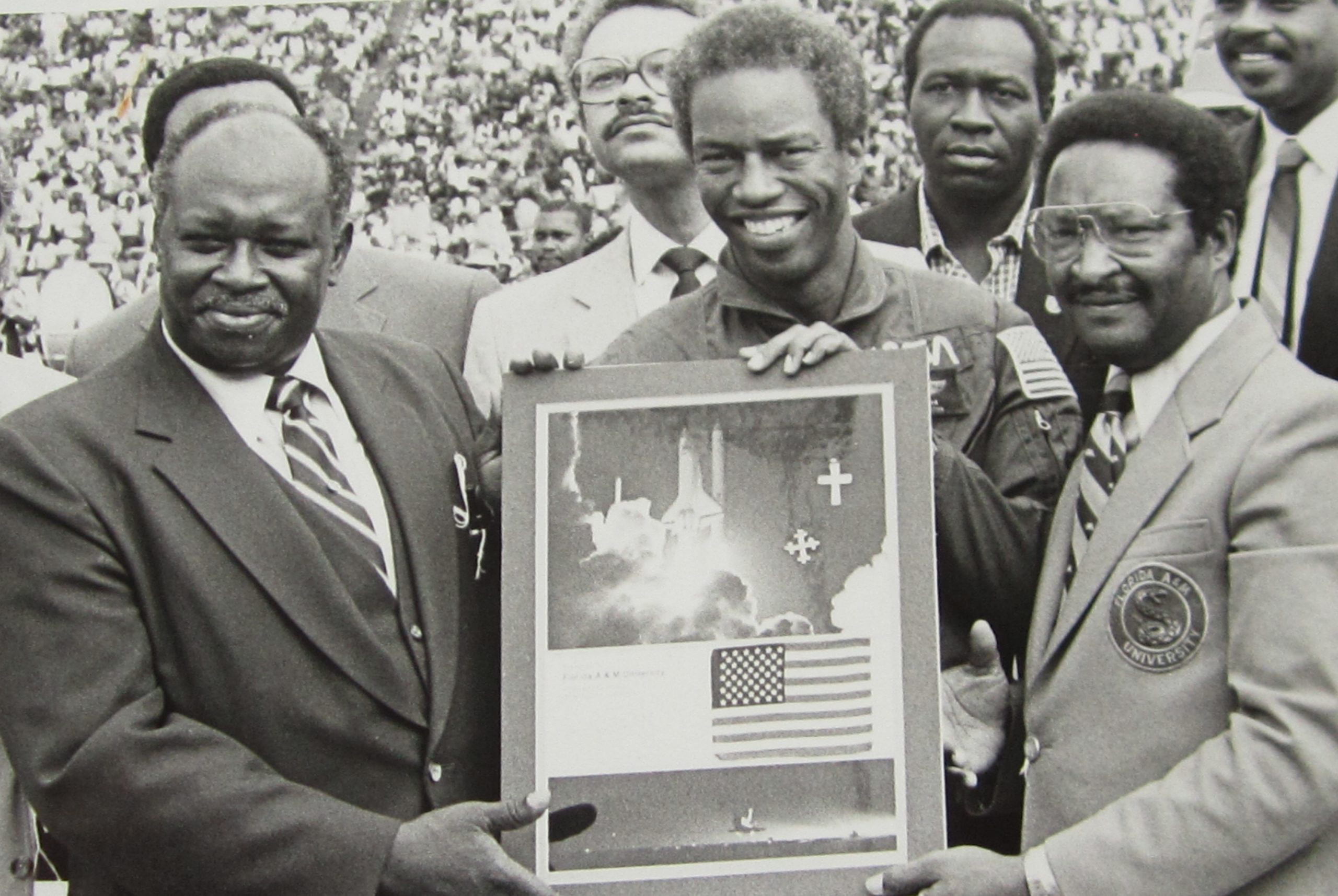 James N. Eaton, Astronaut Guion 'Guy' Stewart Bluford, Jr., and Walter L. Smith