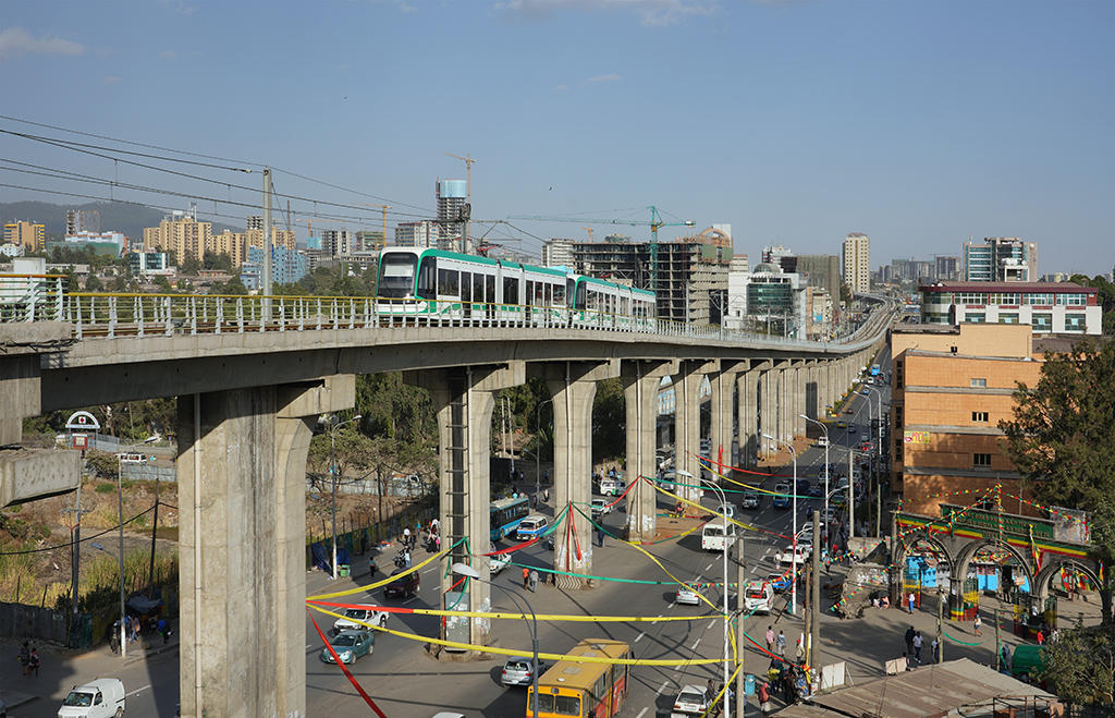Light Rail Overpass in Addis Ababa