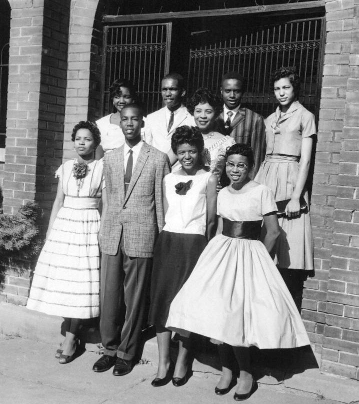 Daisy Bates, Standing, Second from Right, and the Little Rock Nine, 1957