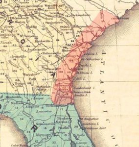 Map Showing 400,000 acres (in Orange) Granted to 10,000 Freedpeople, January 1865