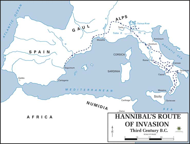 Map Showing Hannibal's Route of Invasion into Italy