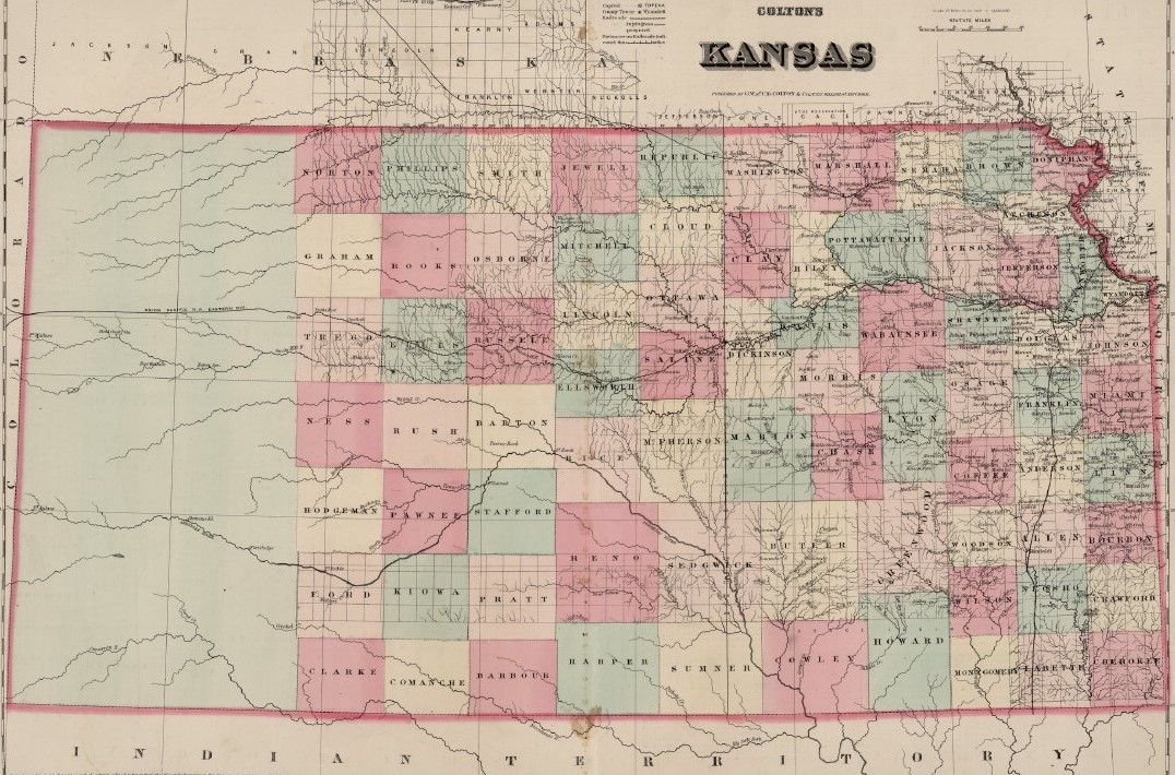Map of Kansas, 1869