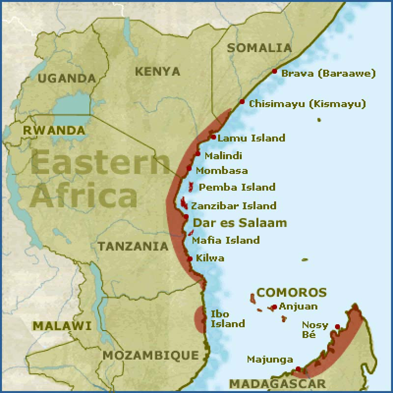 East Coast Of Africa Map East African City States (1000 1500)