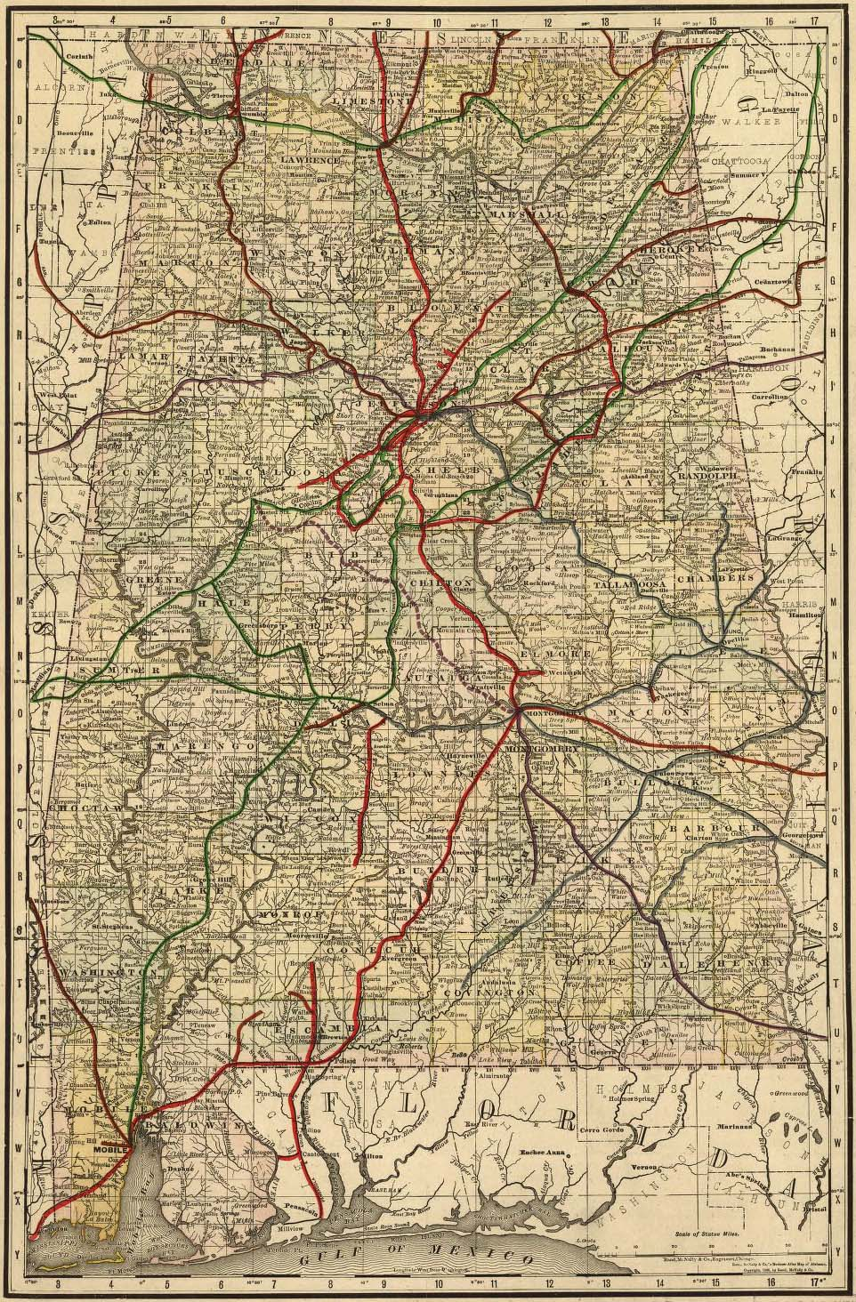Political map of roads, counties, cities, and rivers of Alabama