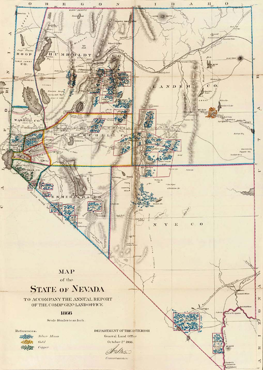 Map of Nevada, 1866