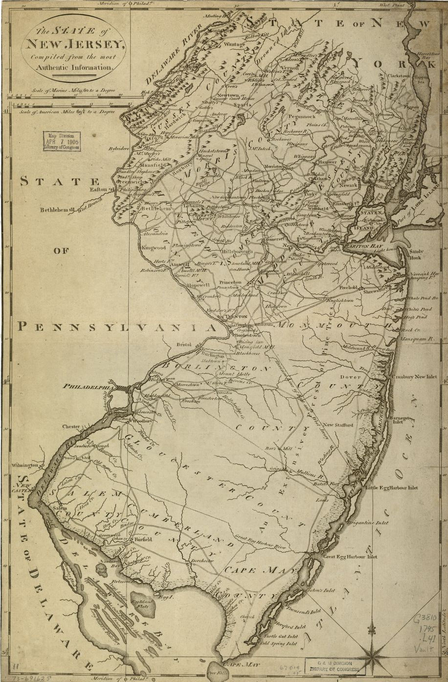 Map of New Jersey (Philadelphia, M. Carey, 1795)
