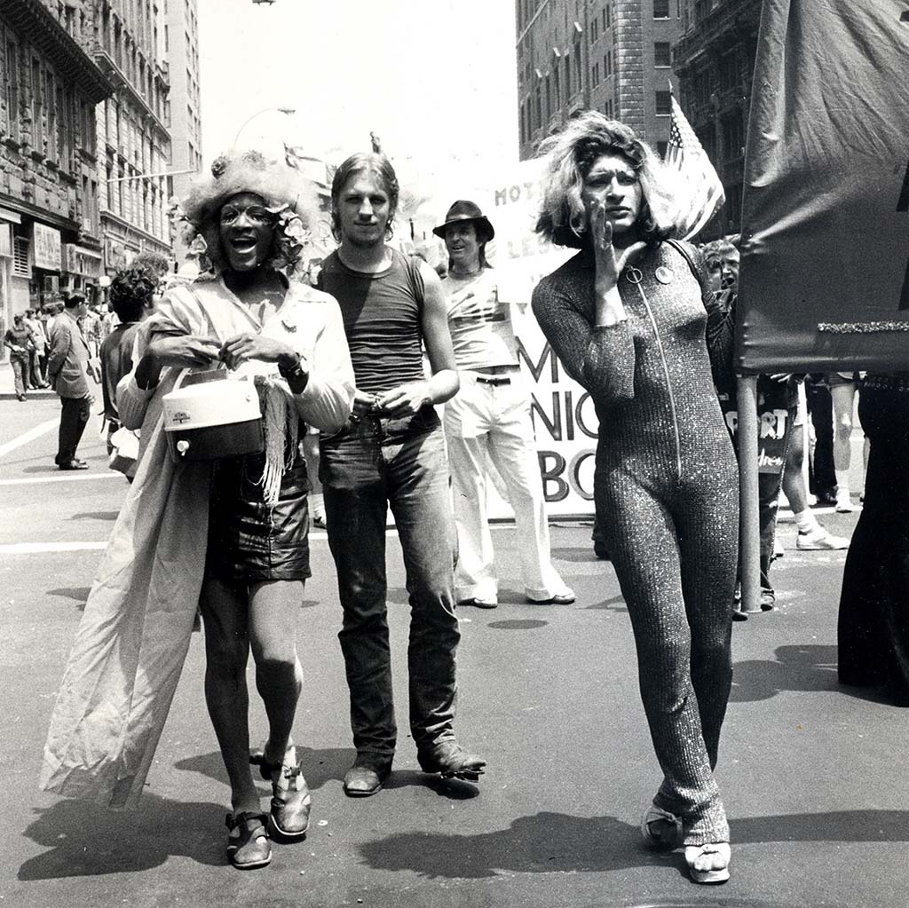 Marsha P. Johnson (Left) and Sylvia Rivera (Right) in 1973 Gay Pride Parade, NYC