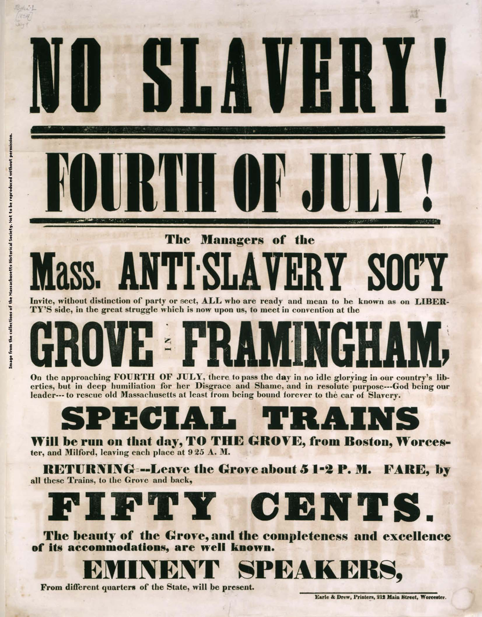 Massachusetts Anti-Slavery Society 4th of july ad 1854