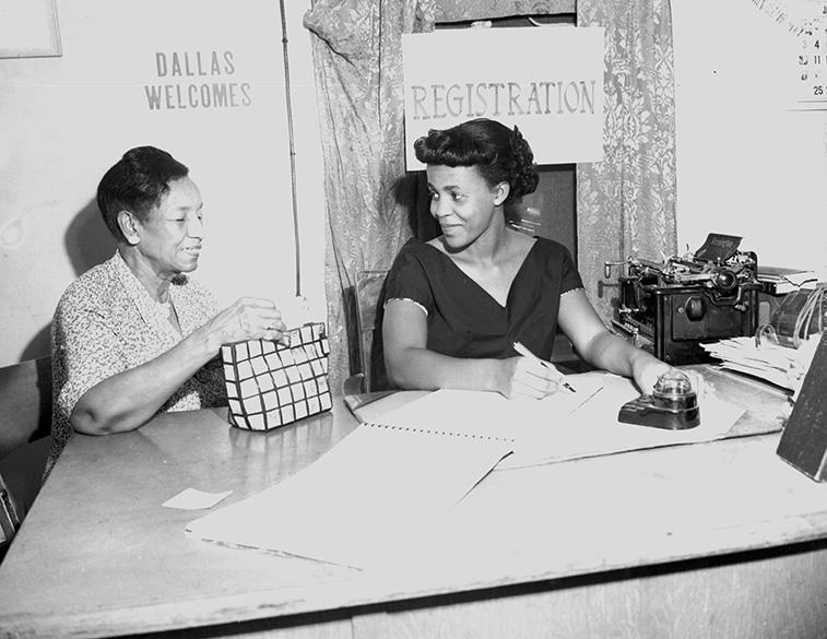 Maude E. Williams (left), 1954
