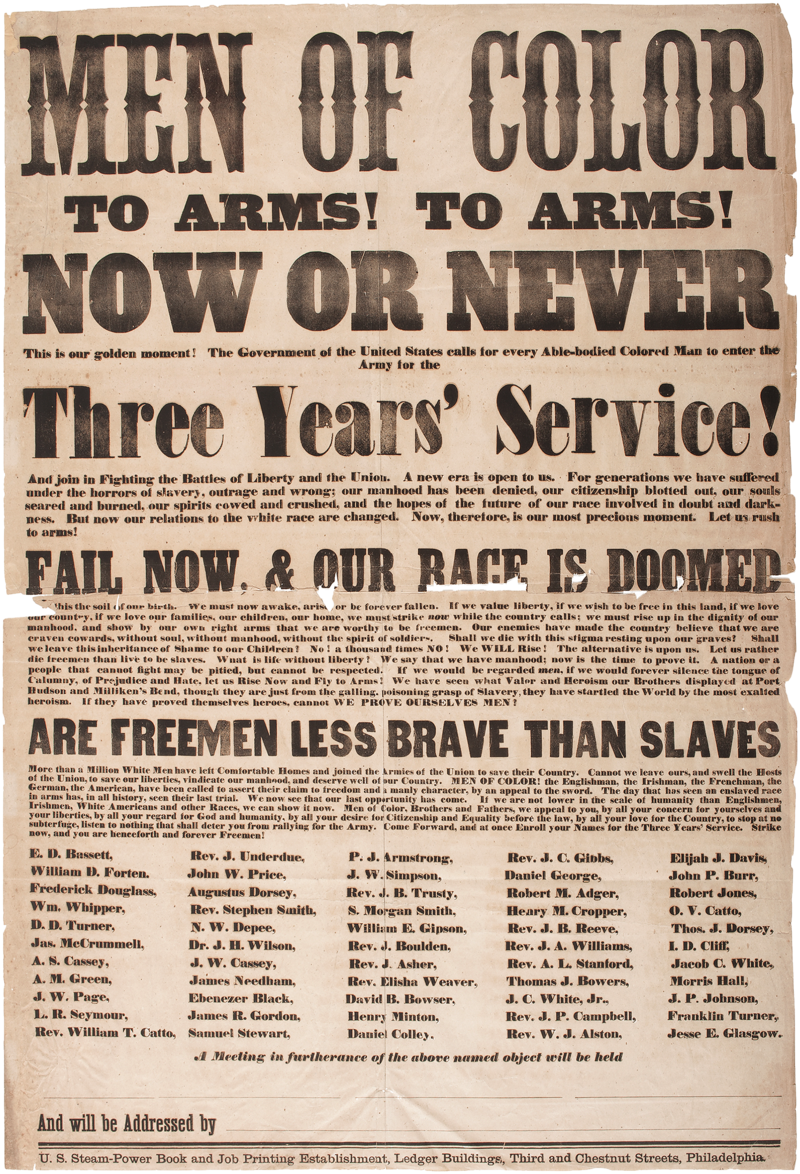 Men of Color, Civil War Recruitment Broadside, 1863