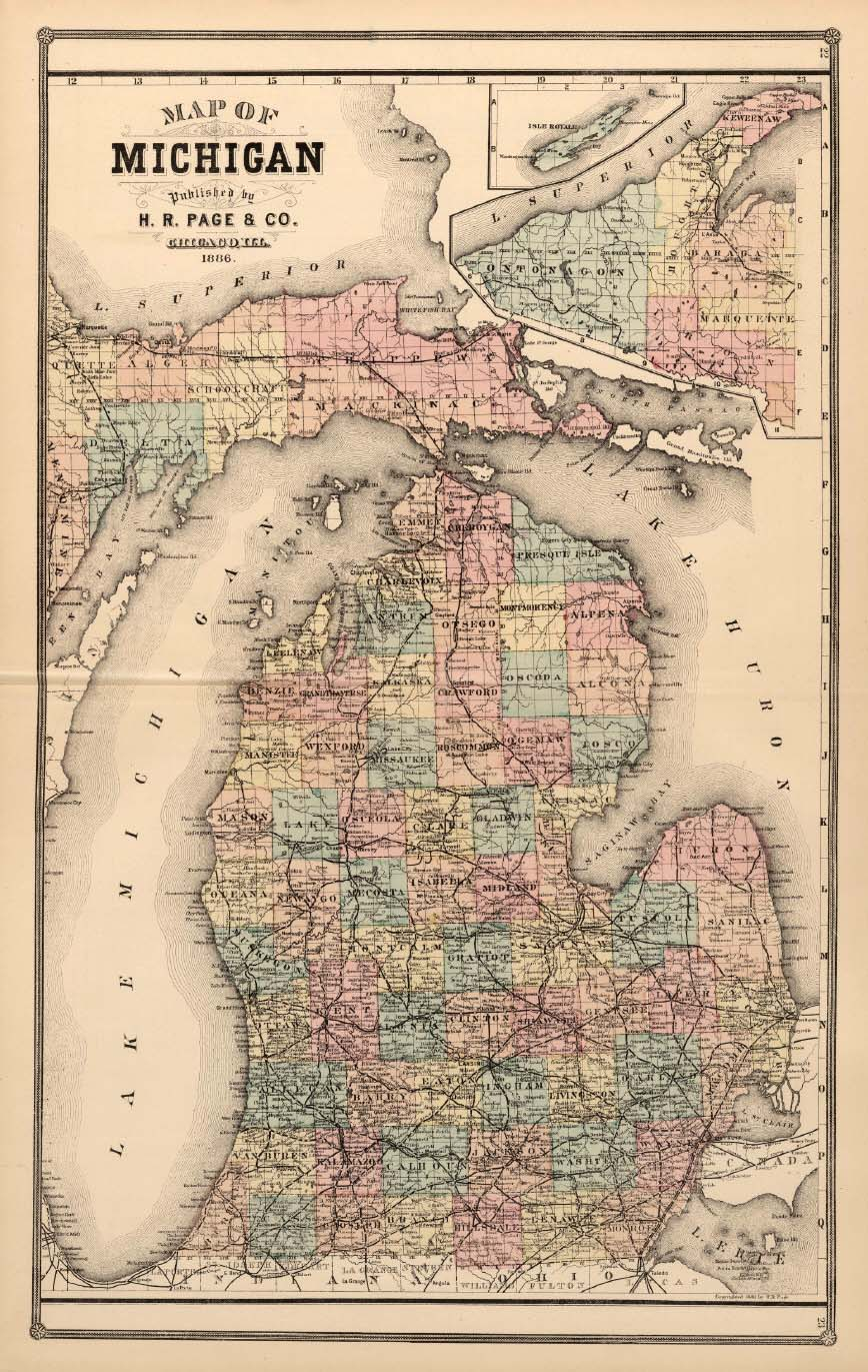 Michigan map by H.R. Page & Co., 1886