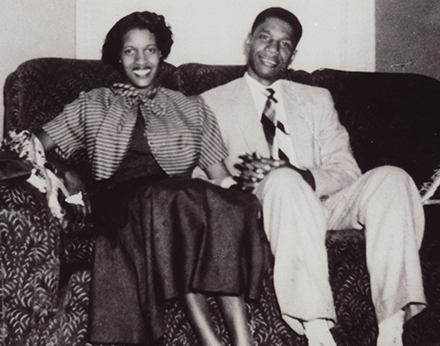Myrlie and Medgar Evers on couch
