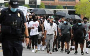 Nick Sabin and Univ. of Alabama Players on BLM March, August 31, 2020