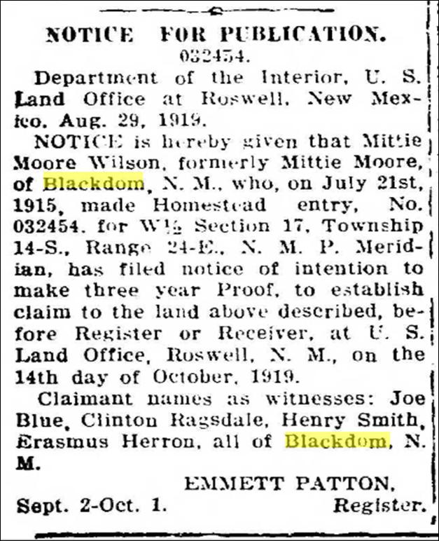 Notice for Publication, 1919 (Blackdom Oil)