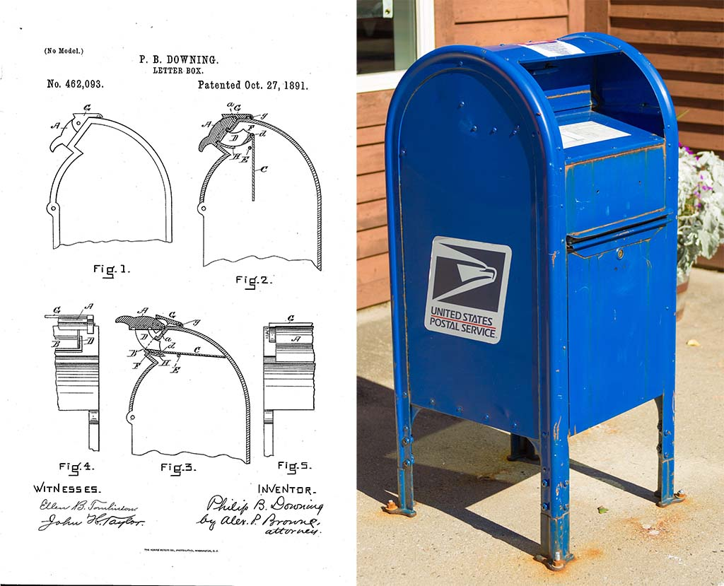 Philip B. Downing Letter Box patent and a USPS box