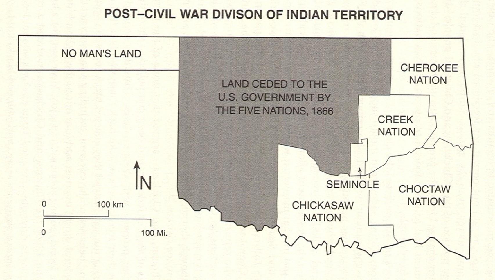 Post-Civil War division of Indian territory, Oklahoma