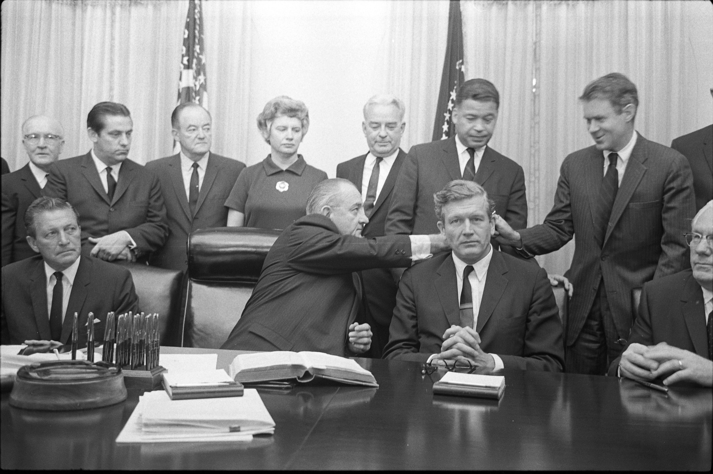 President Lyndon Johnson with National Advisory Commission on Civil Disorders members, White House, Washington, D.C.