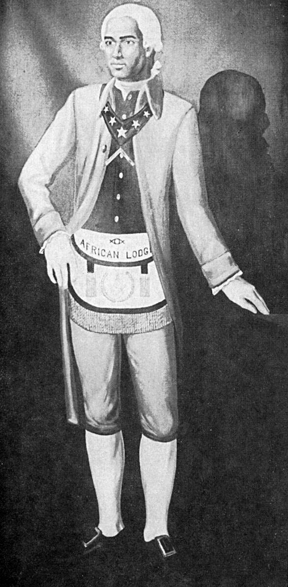 Black and white image of a painting of Prince Hall standing, wearing and African Lodge label around his waste.