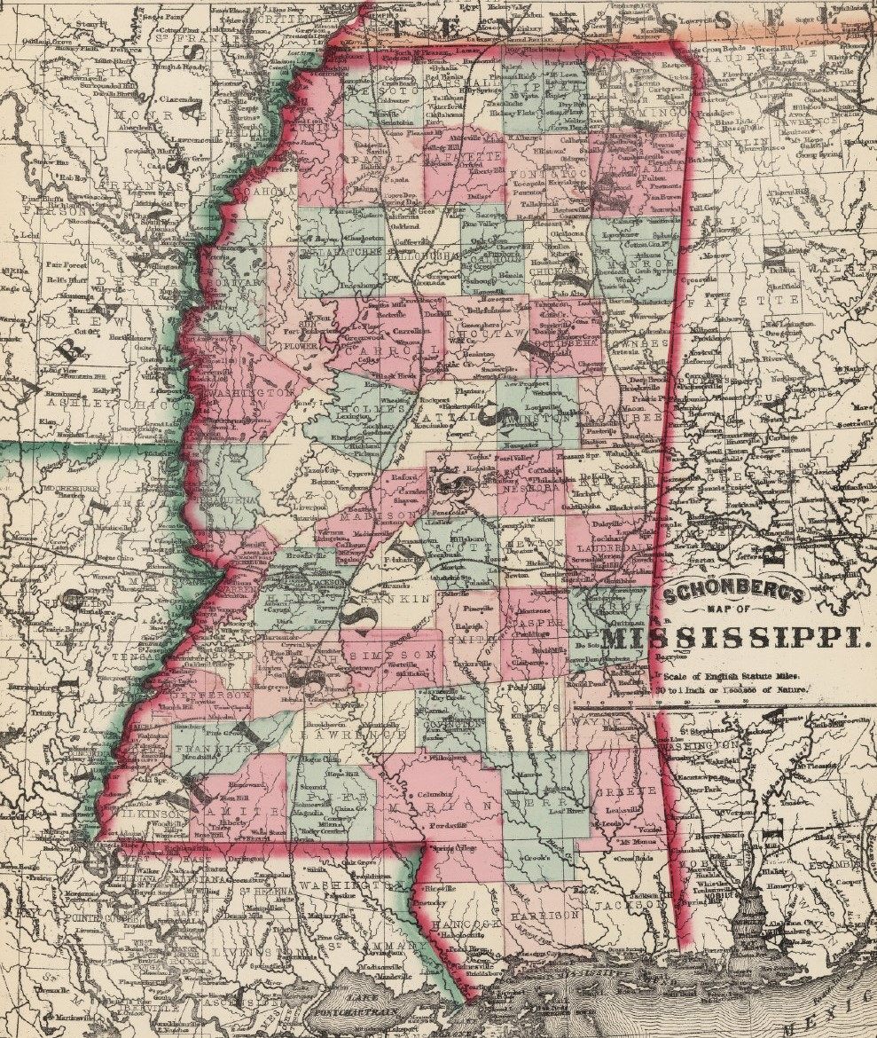 Schonberg's 1867 Map of Mississippi (David Rumsey Historical Map Collection)