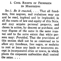 Section of the Mississippi Black Codes