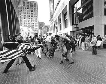 Boston busing crisis, Soiling of Old Glory by Stanley Forman, 1976