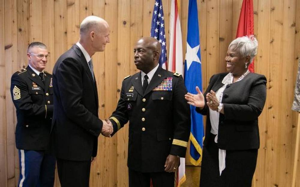 General Michael Calhoun and Wife, Sophia, are Congratulated by Florida Governor Rick Scott on his Promotion to Adjutant General, State of Florida, March 6, 2015
