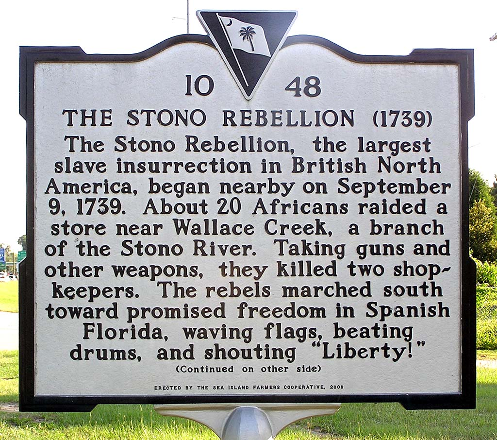 The Stono Rebellion Roadside Marker
