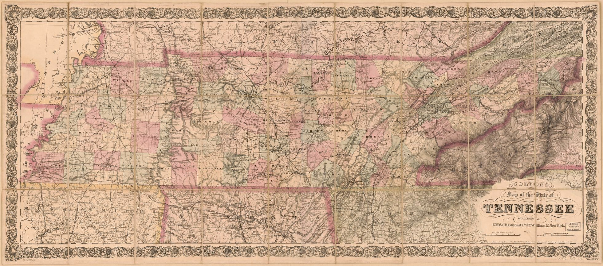 Tennessee map by G.W. & C.B. Colton & Co., 1876