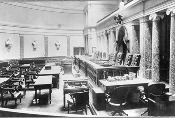 US Supreme Court in Old Senate Chamber of the US Capitol, 1860-1935