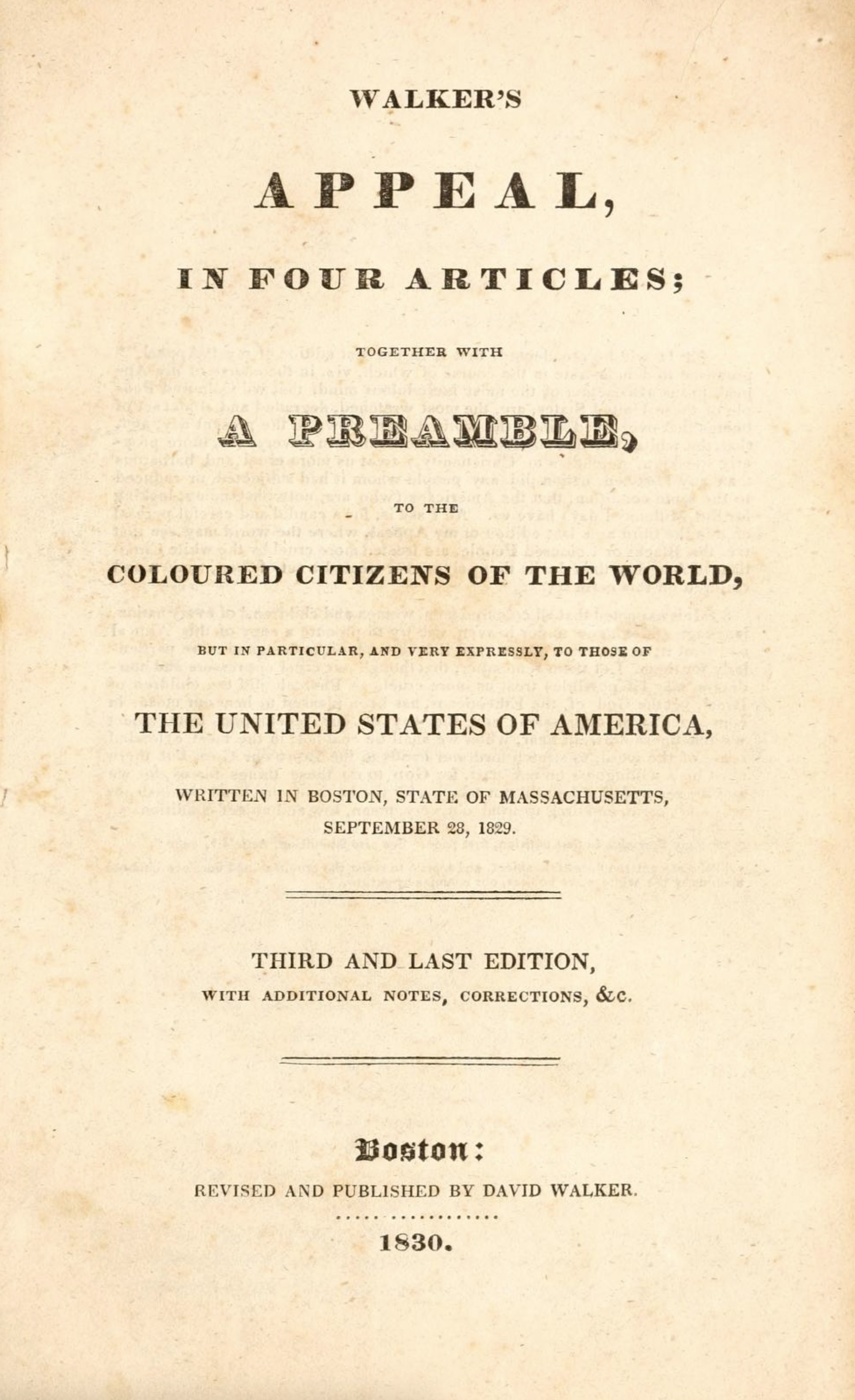 Walker's Appeal, in Four Articles, 1830