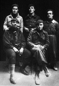 Walter Benjamin Garland Bottom Left in Officer Training, Spanish Civil War, 1937 (Wikipedia)