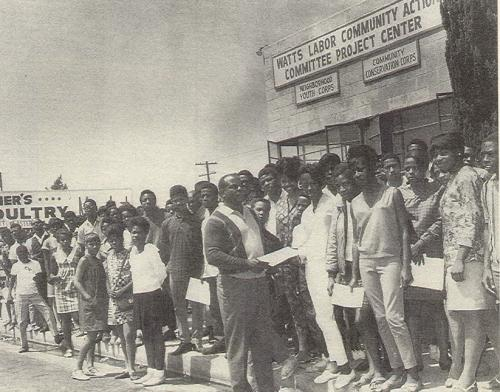 Ted Watkins, Foreground, with Youth Applicants, Watts Labor Community Action Center, 1967