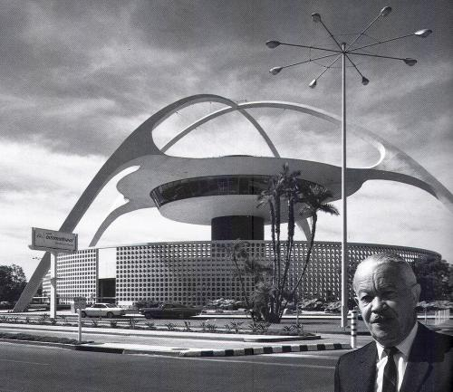 Architect Paul Williams in Front of the Theme Building