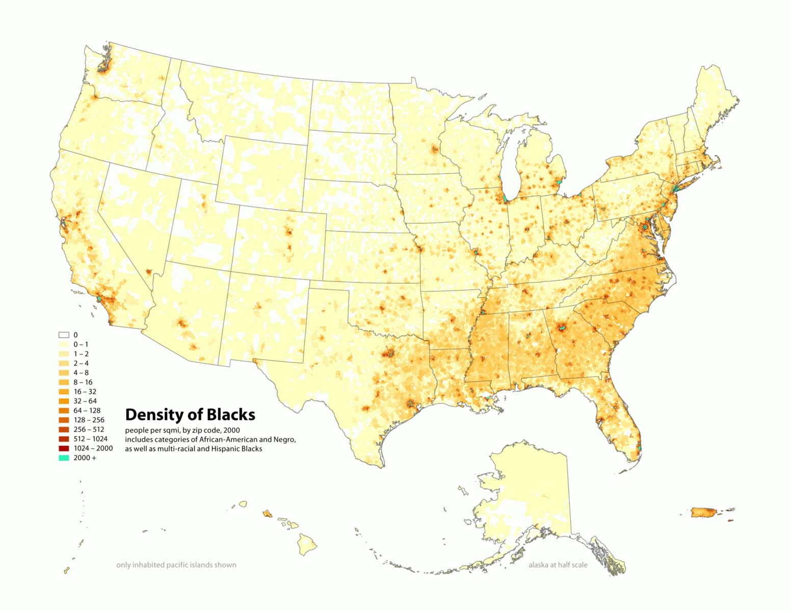 Density of Black population in the United States