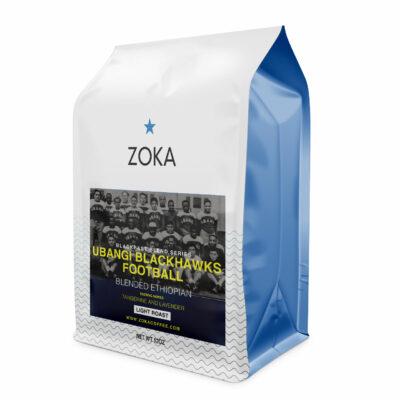 coffee bag with a blackhawks football label
